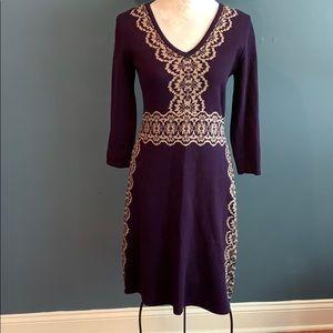 Nine West Purple V-Neck Sweater Dress